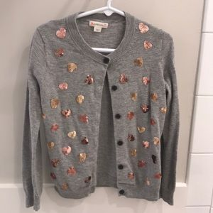 Grey with sparkly hearts Crew cuts cardigan